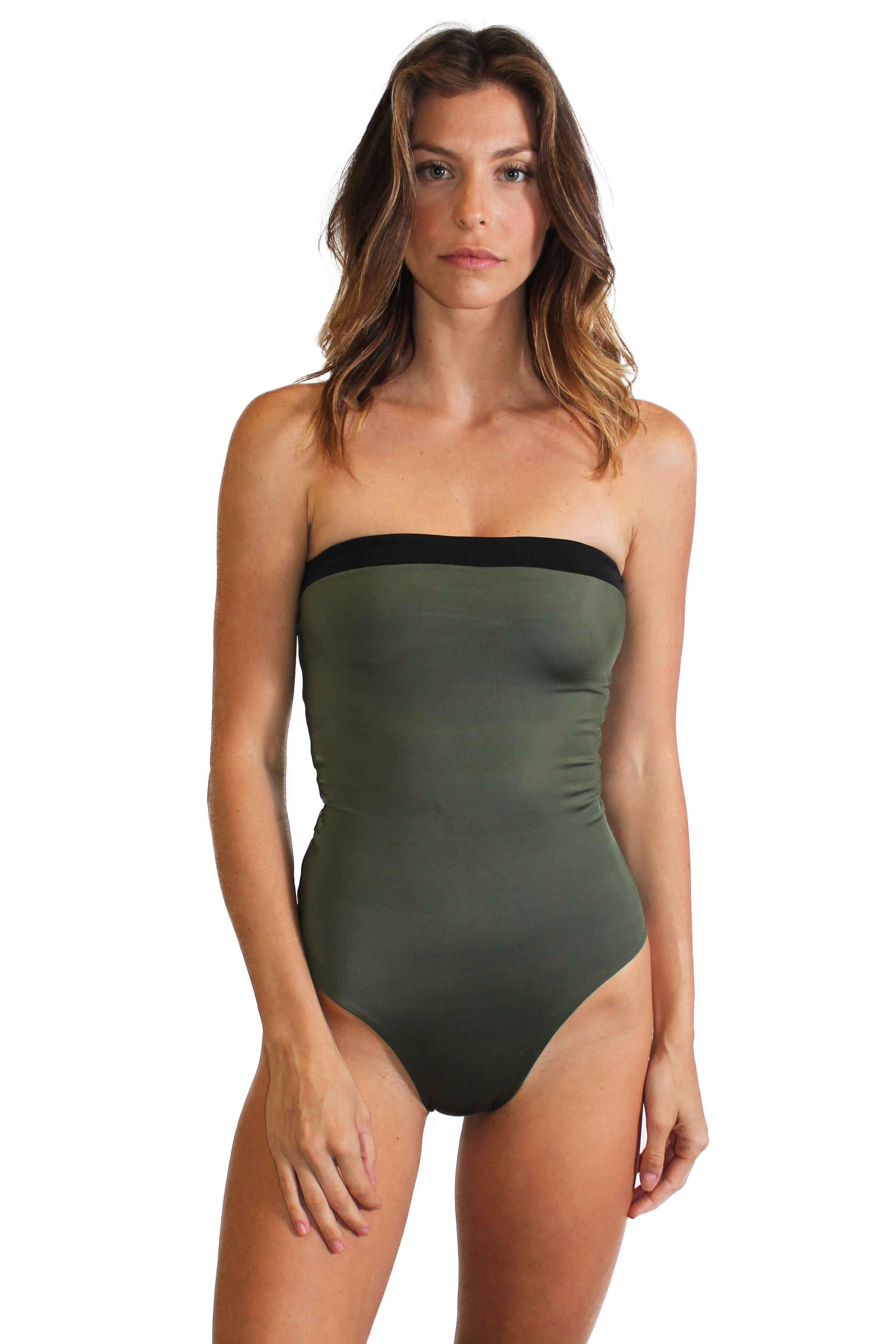 198be4c2ae869 Beautiful seamless one-piece swimsuit in army green color with black color  blocking. Black lining makes this swimsuit reversible.