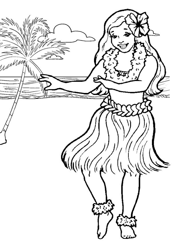 Free Online Printable Kids Colouring Pages Hula Girl Colouring