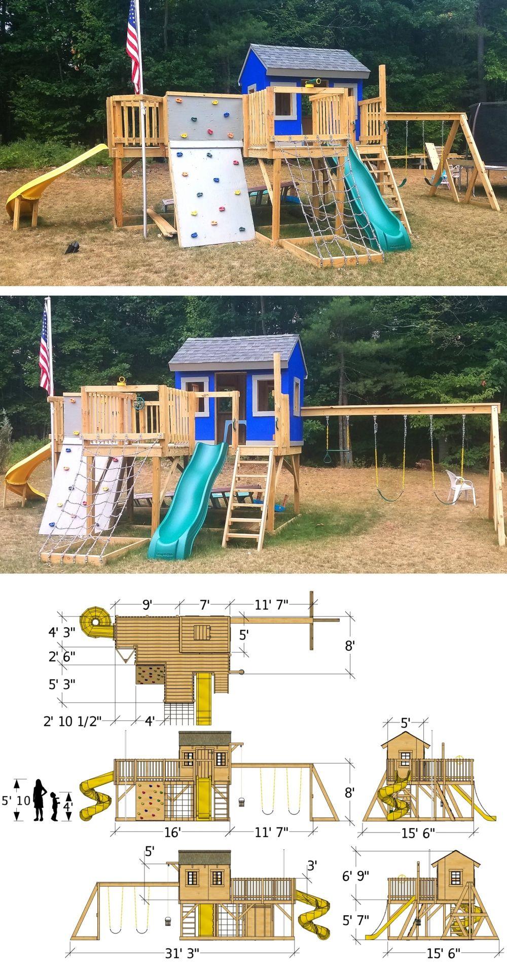 Playground Playhouse Plan (2‑Sizes) #backyardmakeover