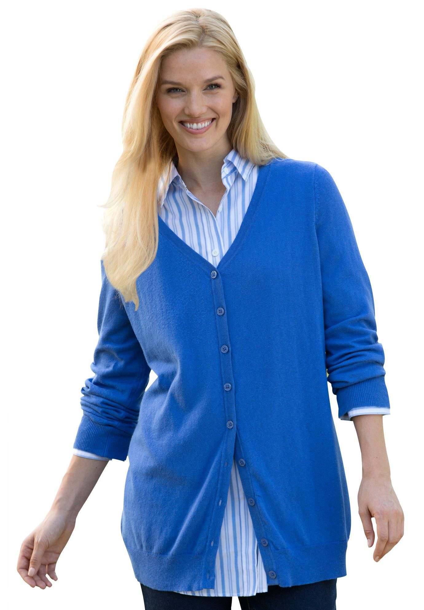 This plus size V-neck cardigan is made from soft cotton and ...
