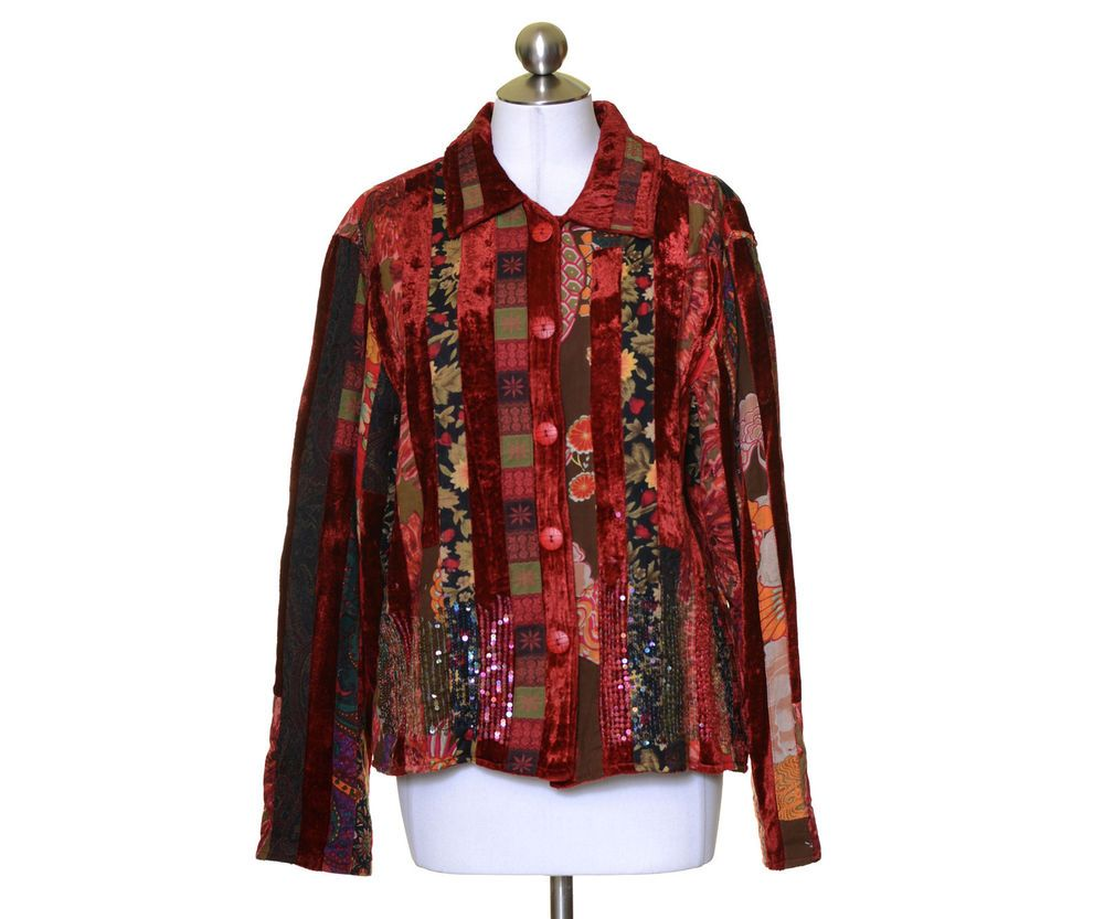 Coldwater Creek Dark Red Velvet Striped Artsy Lined Button Up Jacket Size L Coldwatercreek Basicjacket Jackets For Women Basic Jackets Jackets