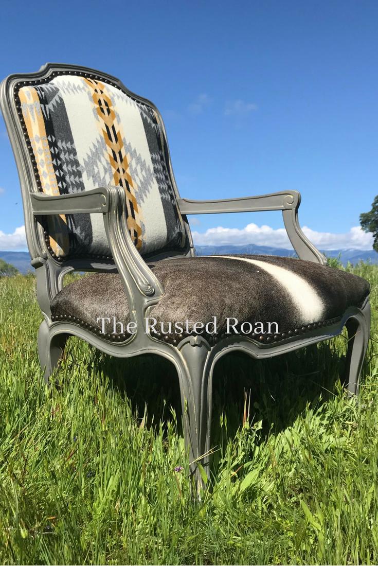 Custom western upholstered cowhide pendleton chair cowhide chair