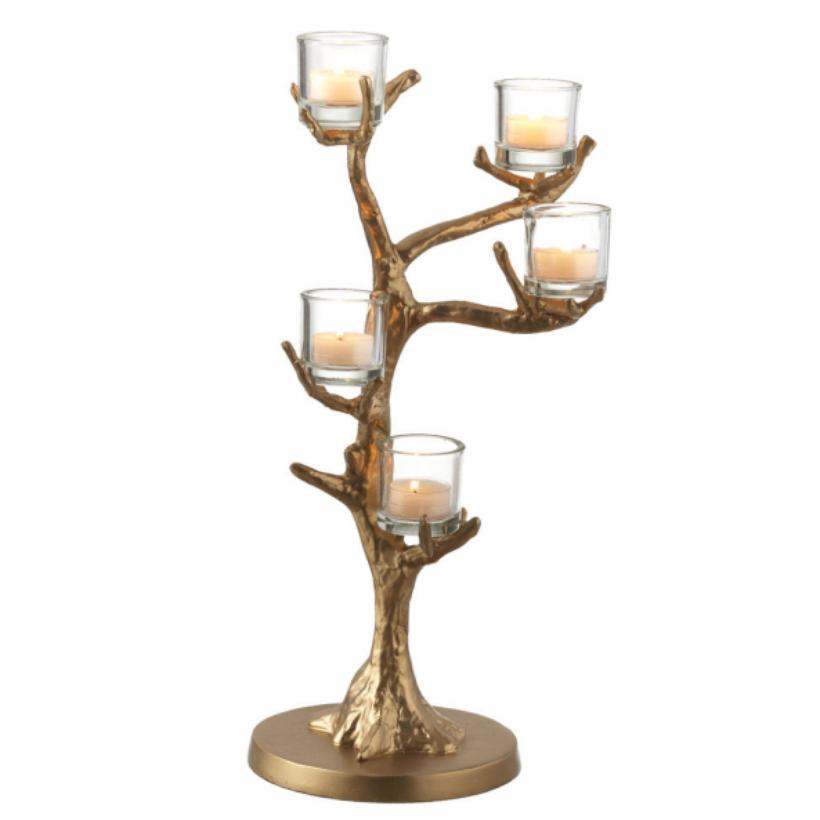 gold branch votive candleholder