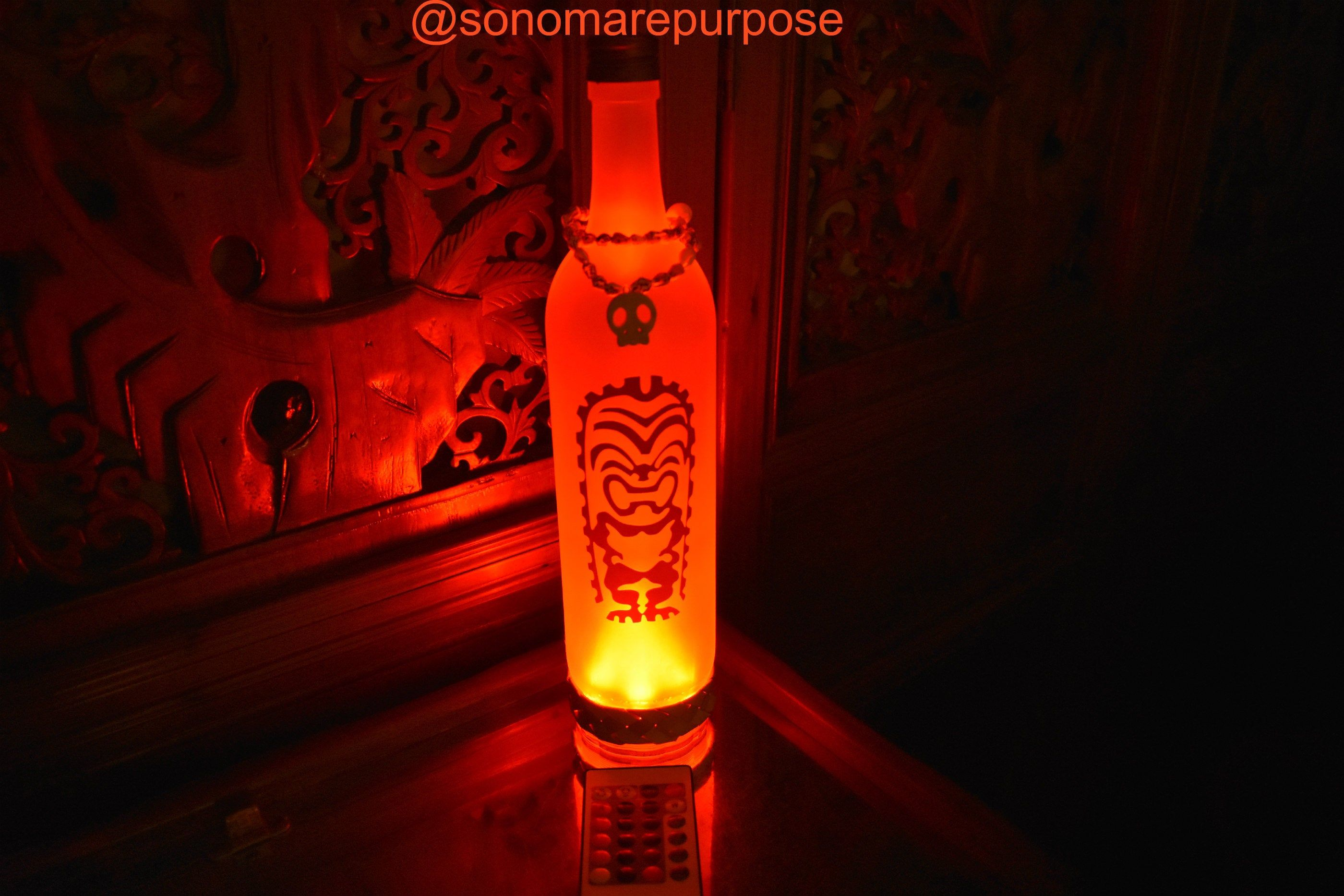 Frosted Wine Bottle Light Brown Ku Tiki God With Vintage Sea Shell Topper Multi Color Lights With Remotetik With Images Bottle Lights Lighted Wine Bottles Wine Bottle Lamp