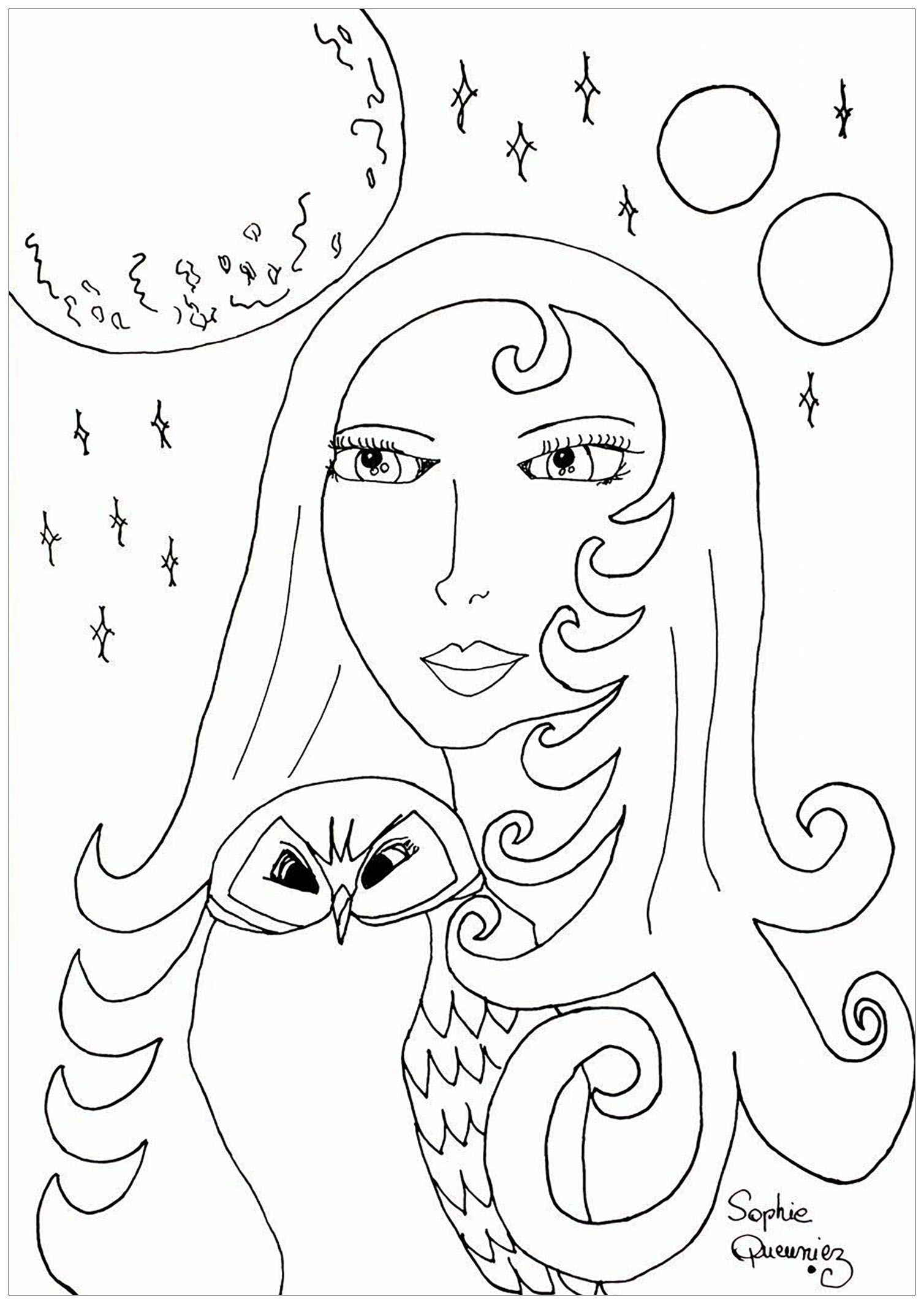 Full Moon Printable Coloring Pages