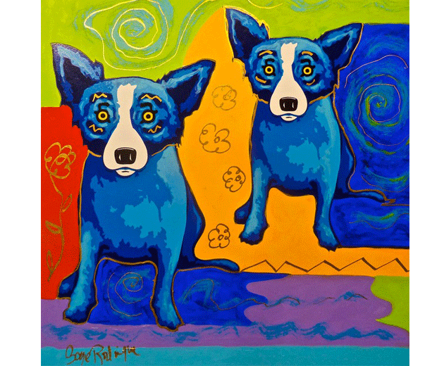 Silkscreen and acrylic paint on illustration board by George Rodrigue