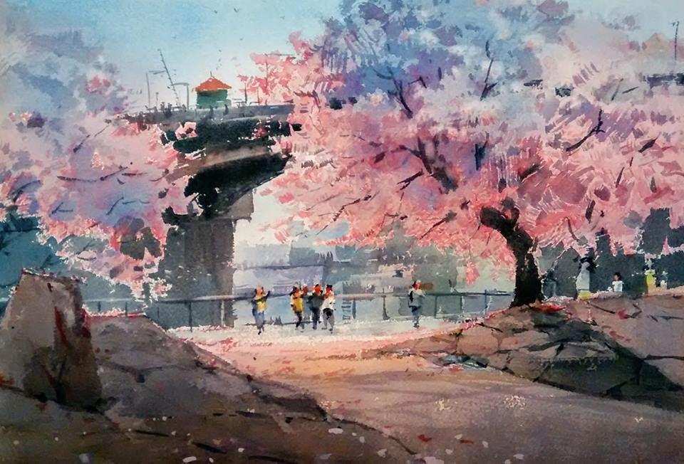 Winter Landscape In Portland Oregon Curator 水彩画 Watercolor