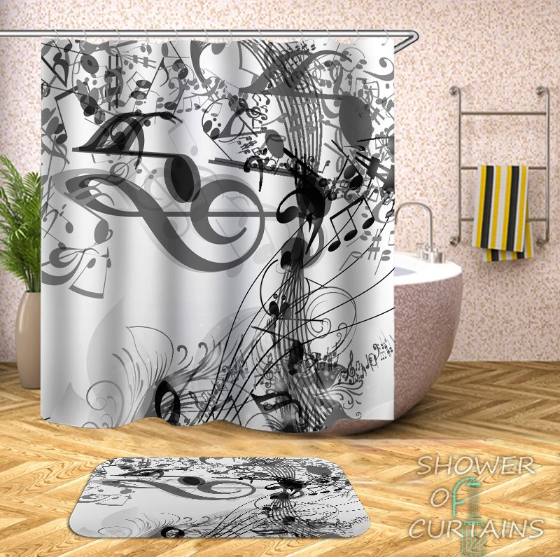 Music Notes Black And White Shower Curtain - HXTC0380