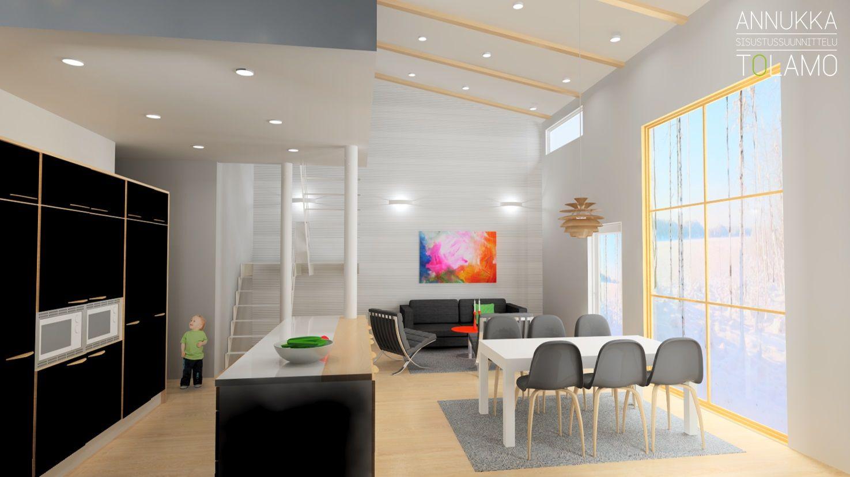 Sisustussuunnittelu Annukka Tolamo / 3D-mallinnus olohuone ja ruokailutila / Uudiskohde