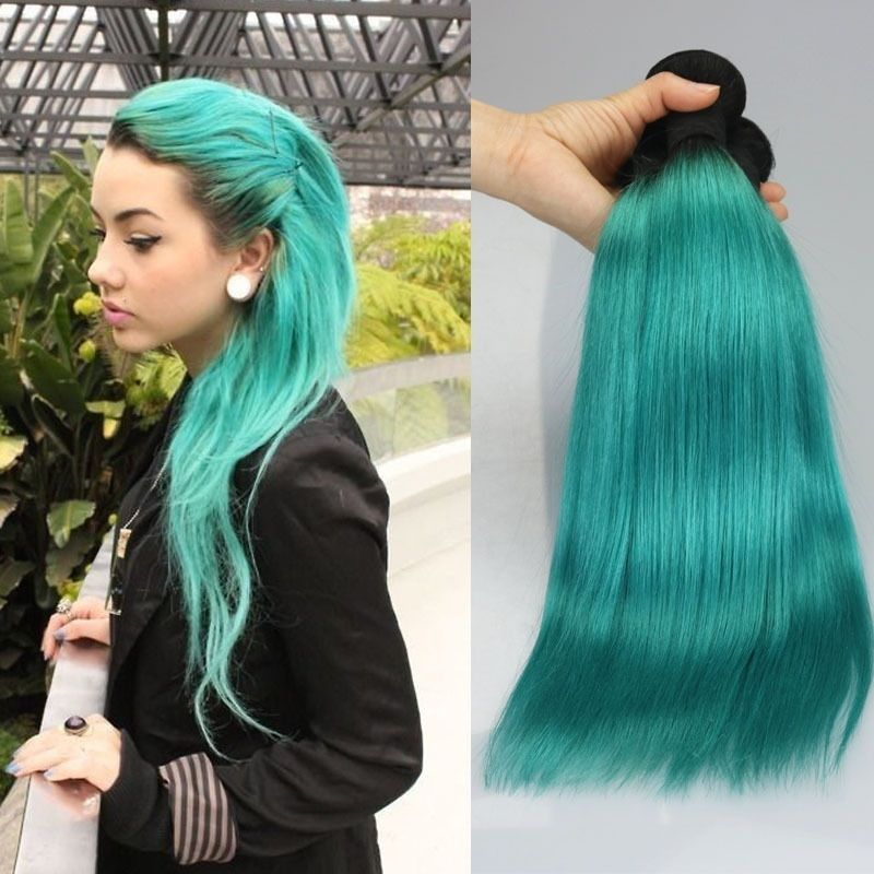 Ombre Teal Green Hair Extension 100 Human Hair Weave Two Tone One