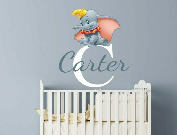 personalised dumbo wall decal www.eydecals | baby | kids wall