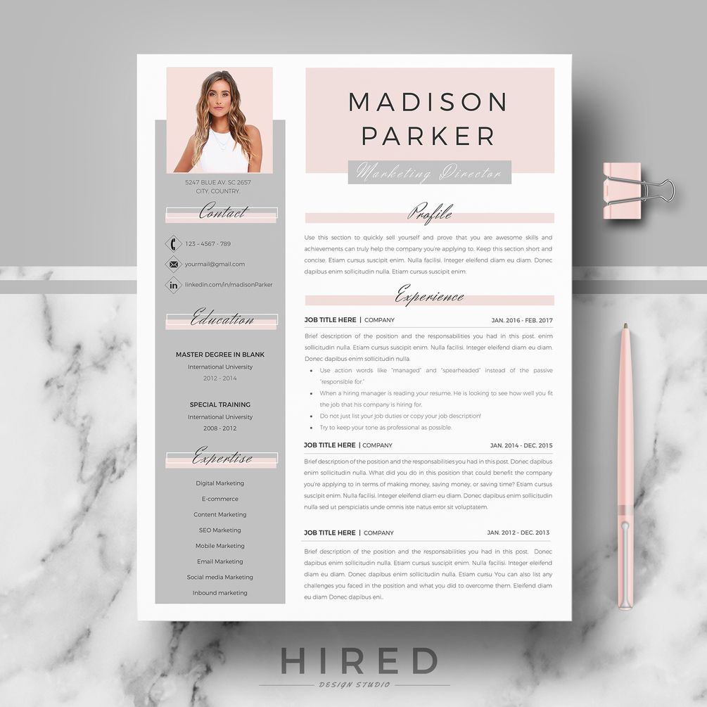 R39 - MADISON PARKER - Creative & Modern Resume, CV Template for Word & Pages | Professional Resume Design + Matching Cover Letter + References page + Resume Writing guide + Free icon set