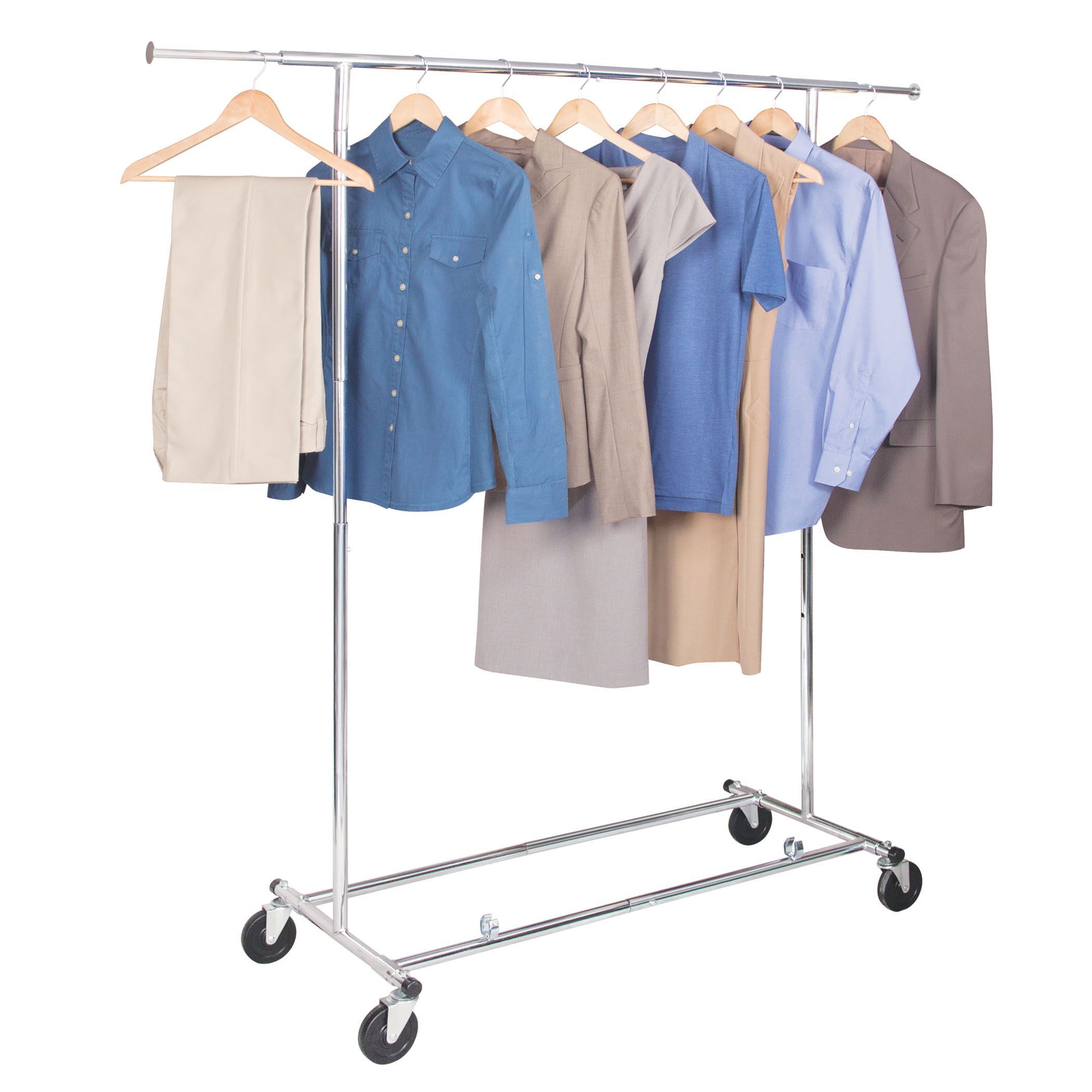 Portable And Expandable Garment Rack In Black Chrome 18 Months Richards Homewares Chrome Freestanding Commercial Storage Garment