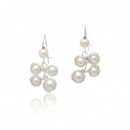 Brautschmuck ohrringe perlen  Kurze Brautschmuck Ohrringe Belas aus Silber Perlen Ivory ...