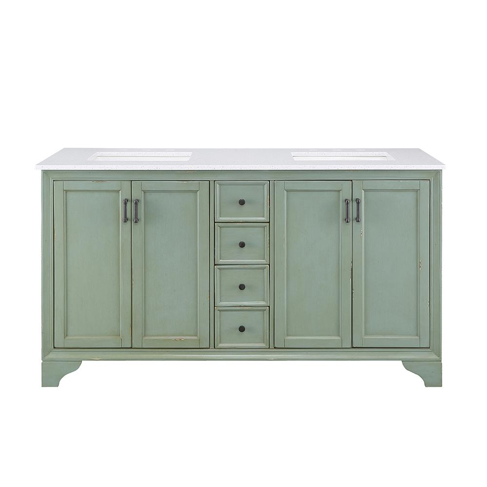 Home Decorators Collection Hazelton 61 In W Double Bath Vanity In Antique Green W Engineered Stone Vanity Top In Crystal White With White Sinks Hzaev6122 White Sink Bathroom Vanities Without Tops Double Bath