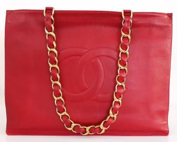 Authentic Chanel Red Lamb Skin Jumbo Shopping Tote Bag Rare Vintage