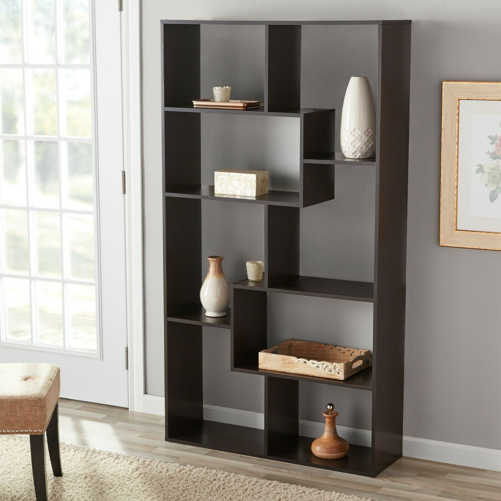 Details About Tall Bookcase Cubby Large Open Bookshelf Modern Cube 8 Shelf Display Brown New In 2020 With Images Cube Bookcase White Bookcase Shelves
