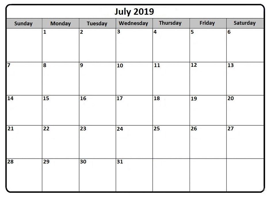 July 2019 Calendar Printable Calendar Template