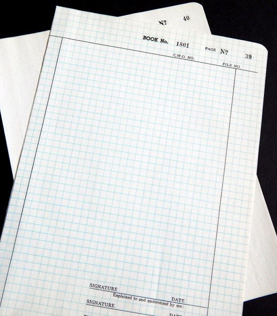 Vintage Numbered Graph Paper Onion Skin Paper Typewriter Paper