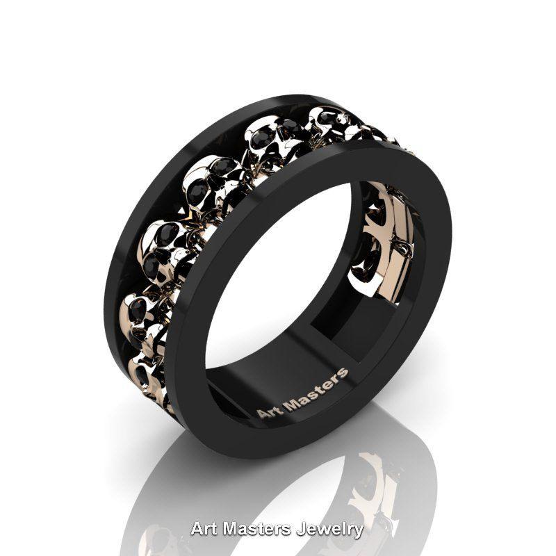 Mens Modern 14K Black and Rose Gold Black Diamond Skull Channel ...