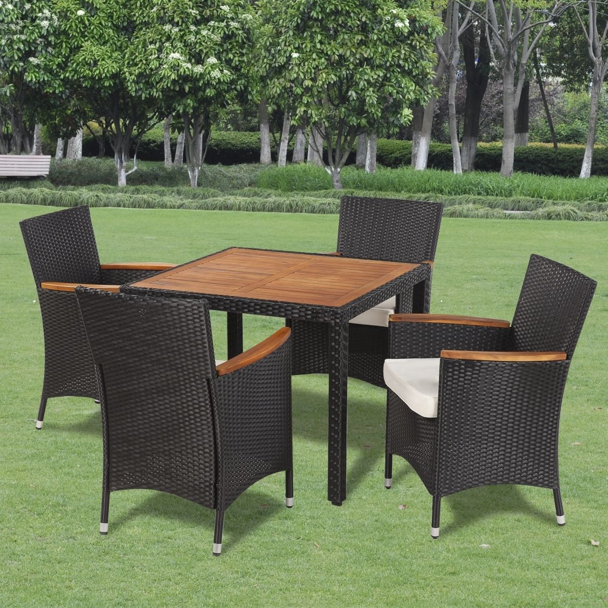 Stuhlkissen Outdoor 5pcs Dining Set Rattan Wicker Acacia Wooden Top Table 4 Chairs