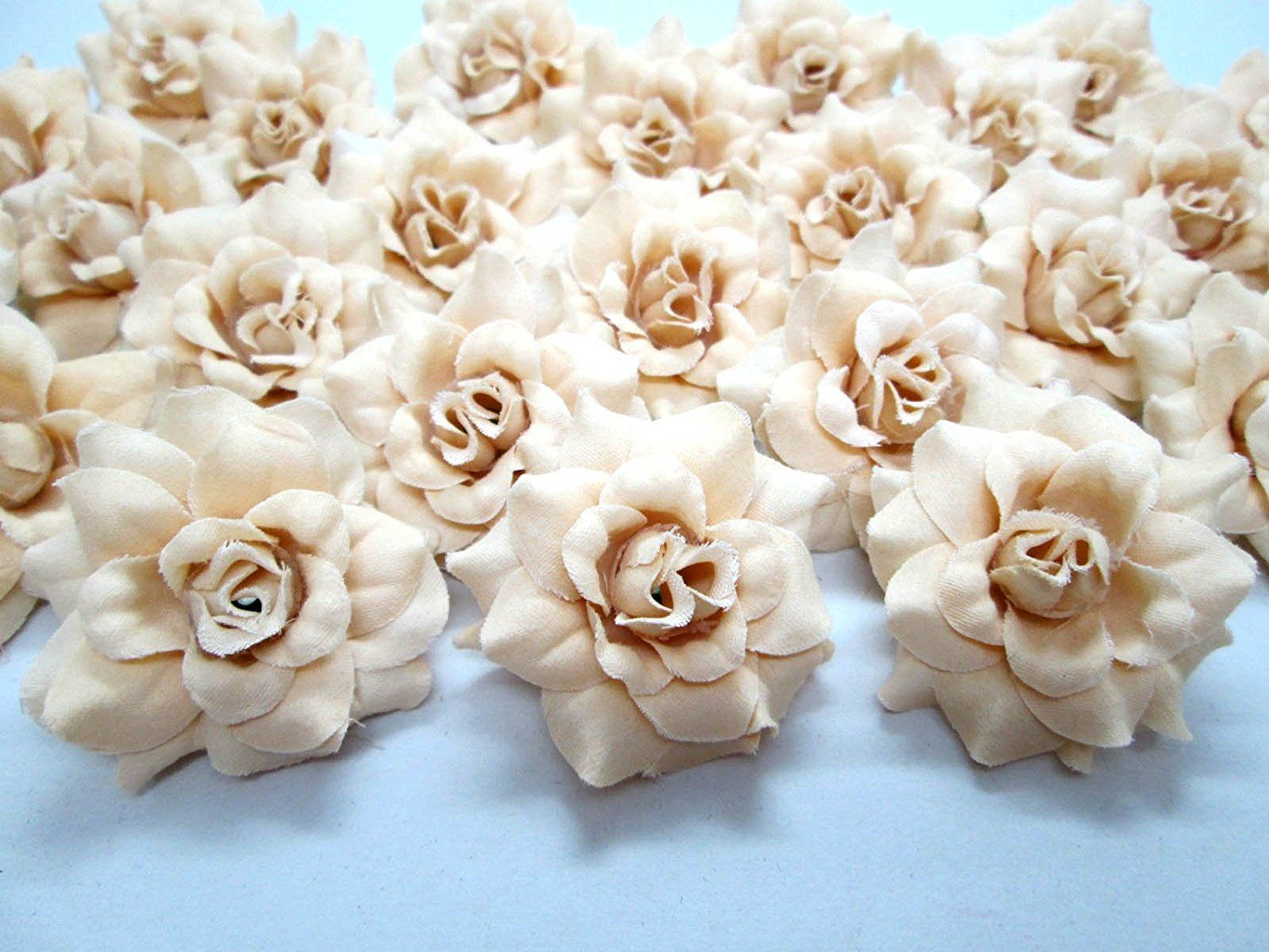 100 Silk Cream Roses Flower Head 175 Artificial Flowers Heads