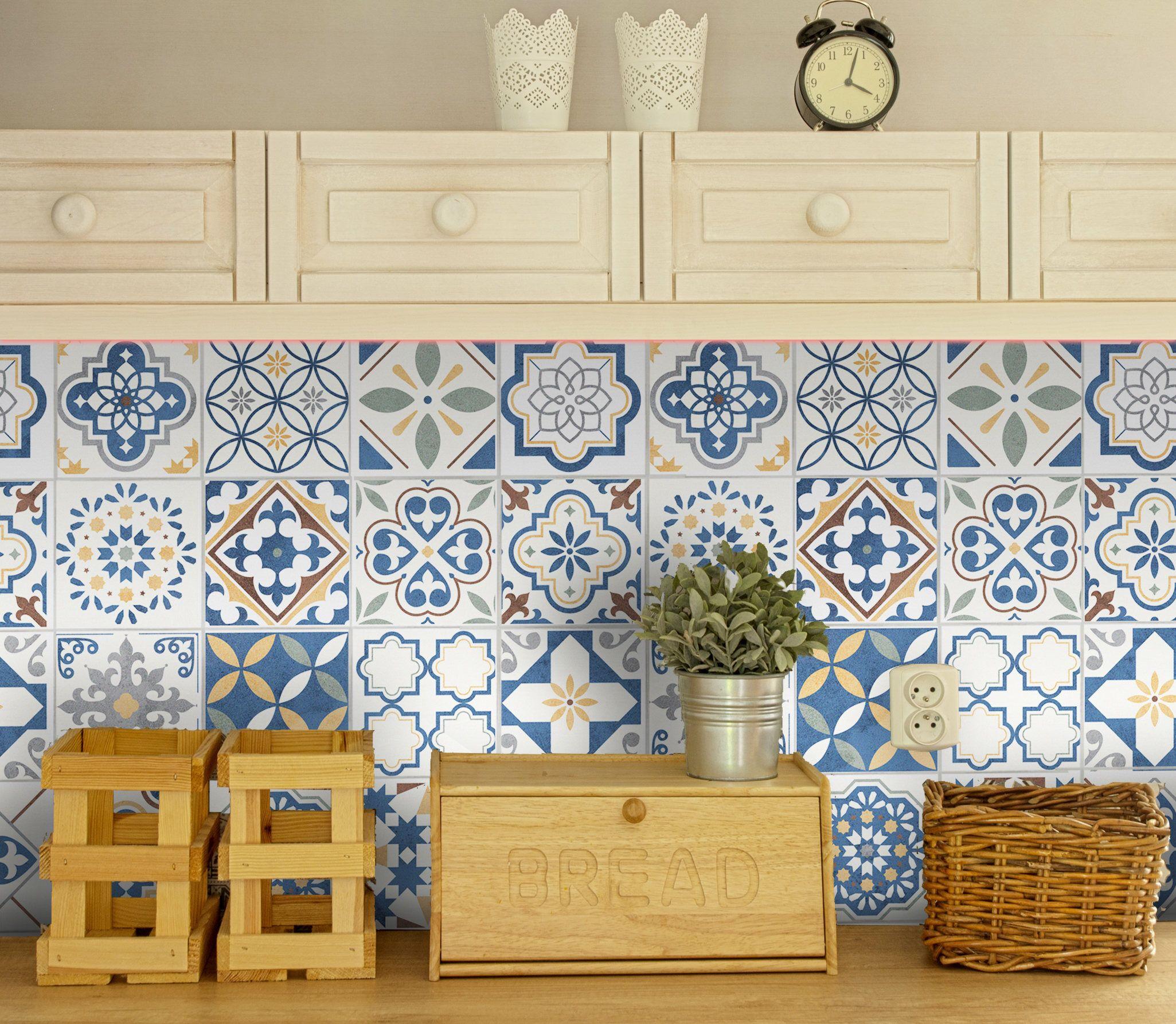Fliesenaufkleber Spanisch Fliesenfolie 16st Azulejo Fliesen Sticker Portugiesisch Designfolie Fliesensticker Marokk Kuchendesign Fliesenfolie