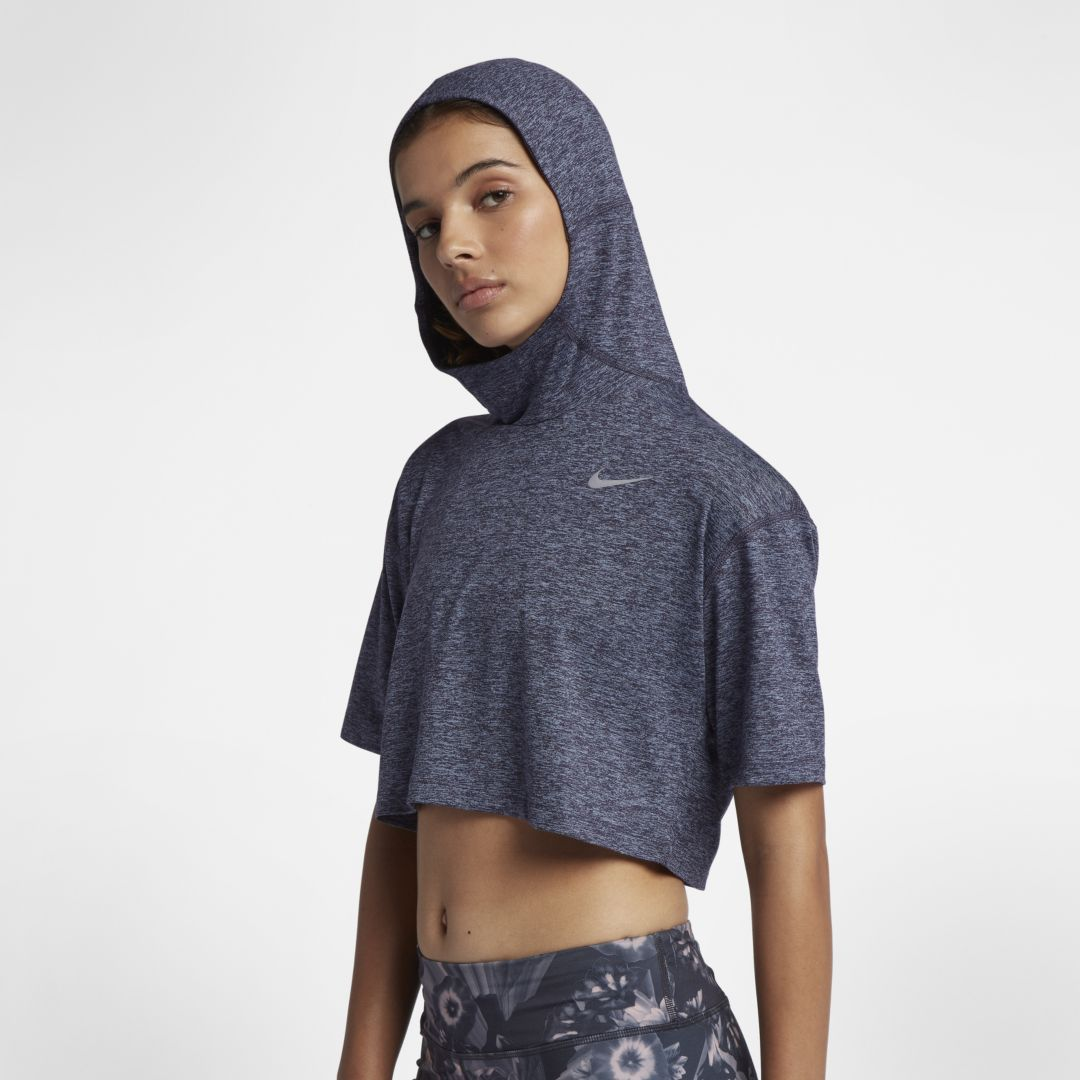 new arrival 09744 3e496 Nike Element Women s Short Sleeve Running Hoodie Size S (Gridiron)