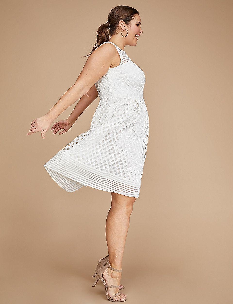 e031952cb3c Sleeveless Geo Lace Mesh Fit   Flare Dress
