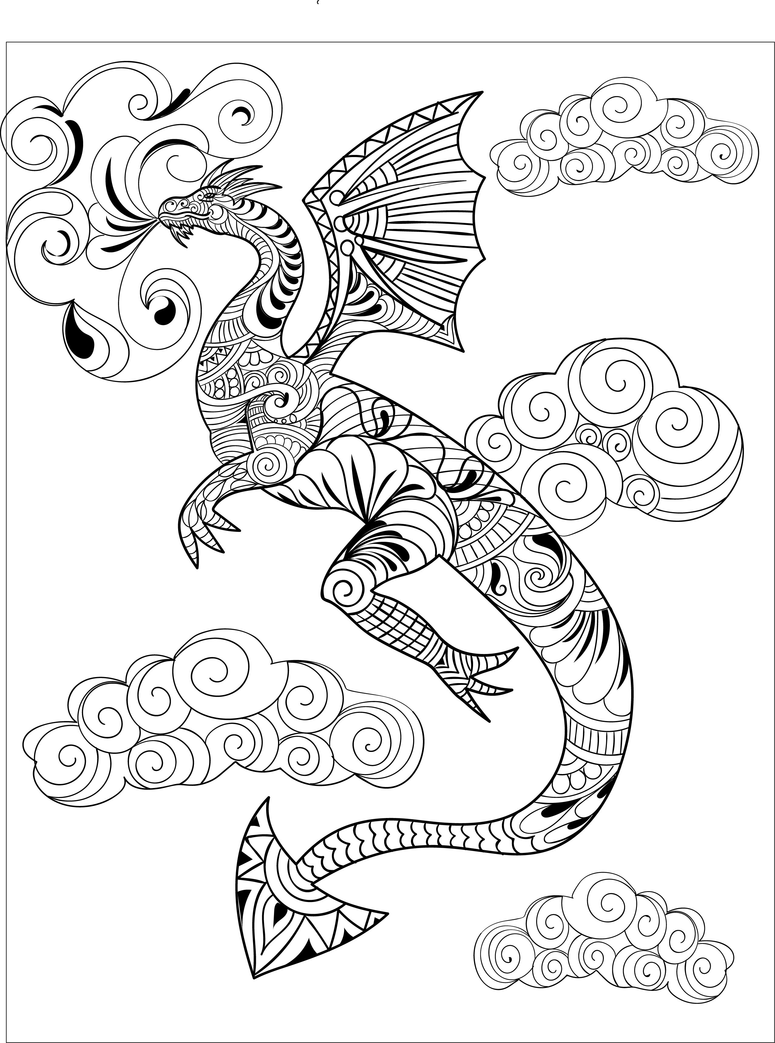 A dragon from one of Creatively Calm Studios\' Adult Coloring Books ...