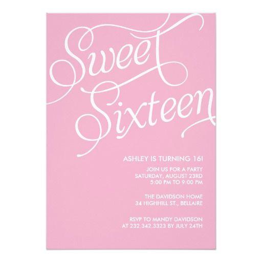 Formal Pink Sweet 16 Invitation Card Sweet 16 Sweet 16 Sweet 16