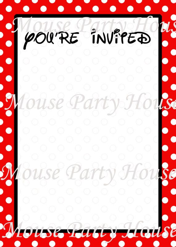 Mickey Minnie Mouse Inspired Blank Invitation By