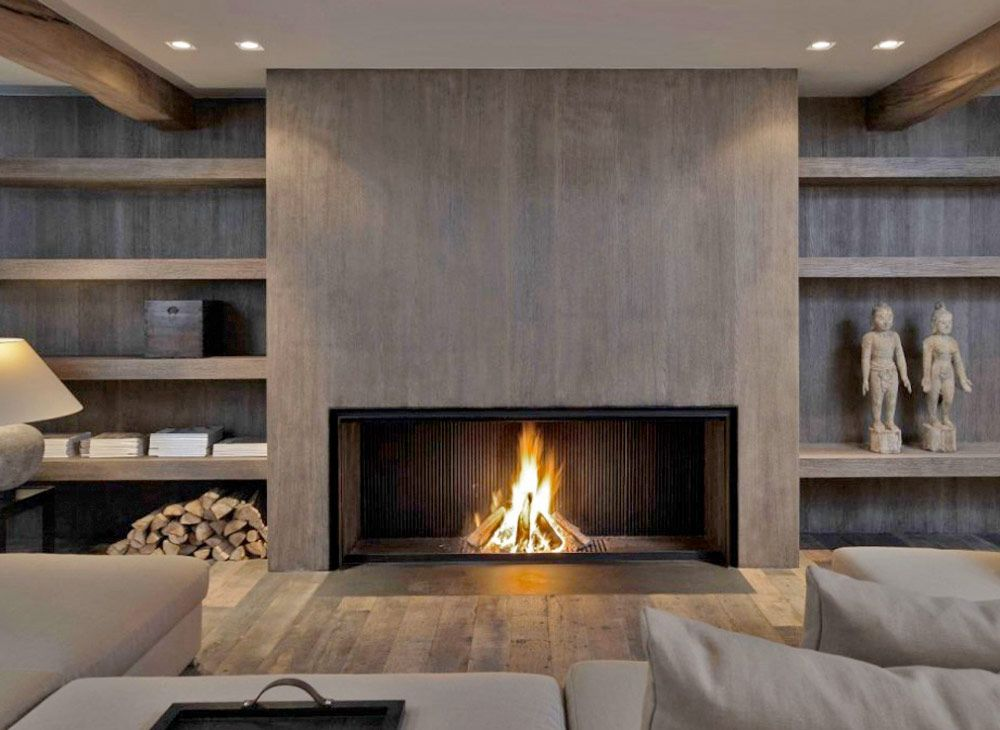 Metalfire fireplace with a modern wood look 20 Of The Most Amazing Modern Fireplace Ideas  fireplaces