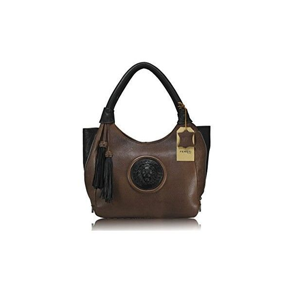 da90da614d89 FERETI brown Genuine Leather designer handbag 3D lion collection... (€185)