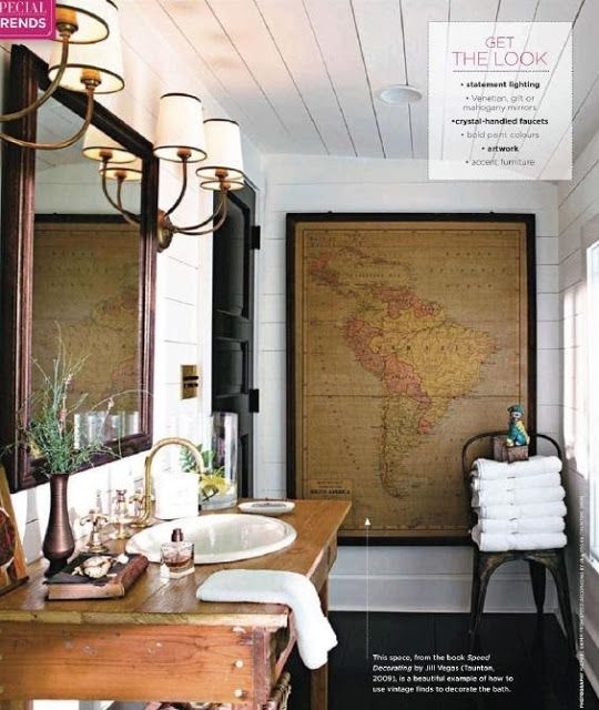 50 Favorites for Friday #90 Decorating, 50th and Blog - best of world map bathroom decor
