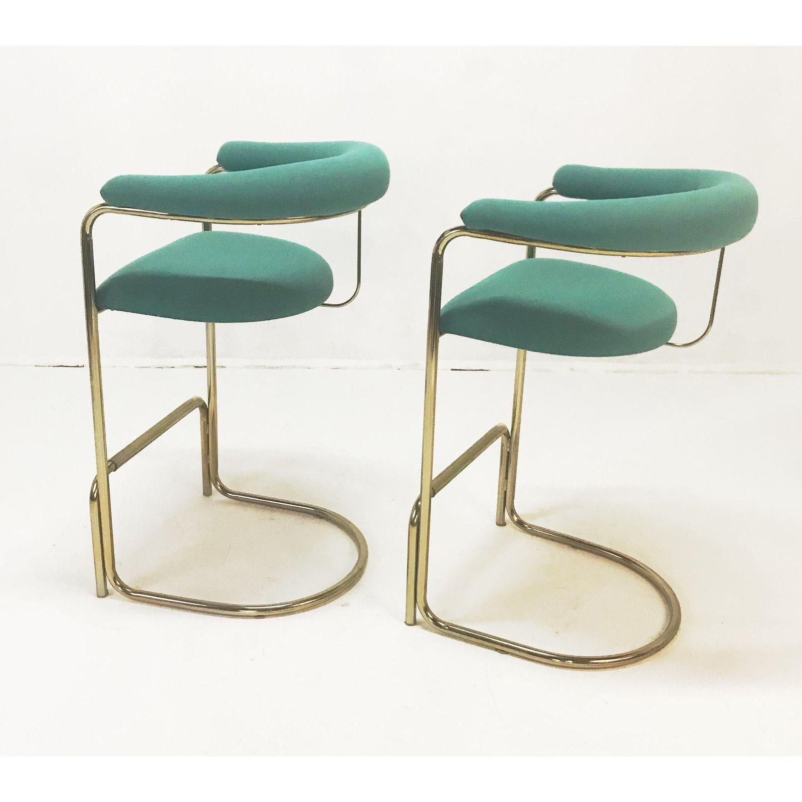 Awesome Anton Lorenz For Thonet Brass Cantilever Bar Stools A Pair Pdpeps Interior Chair Design Pdpepsorg