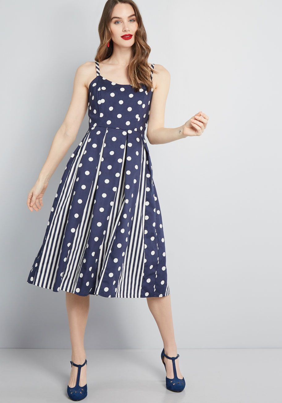 039a15144f7 Celebrated Style Fit and Flare Dress in Navy Blue Print Mix