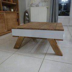 table basse vintage en bois de palettes recycles - Table De Salon En Bois De Palette