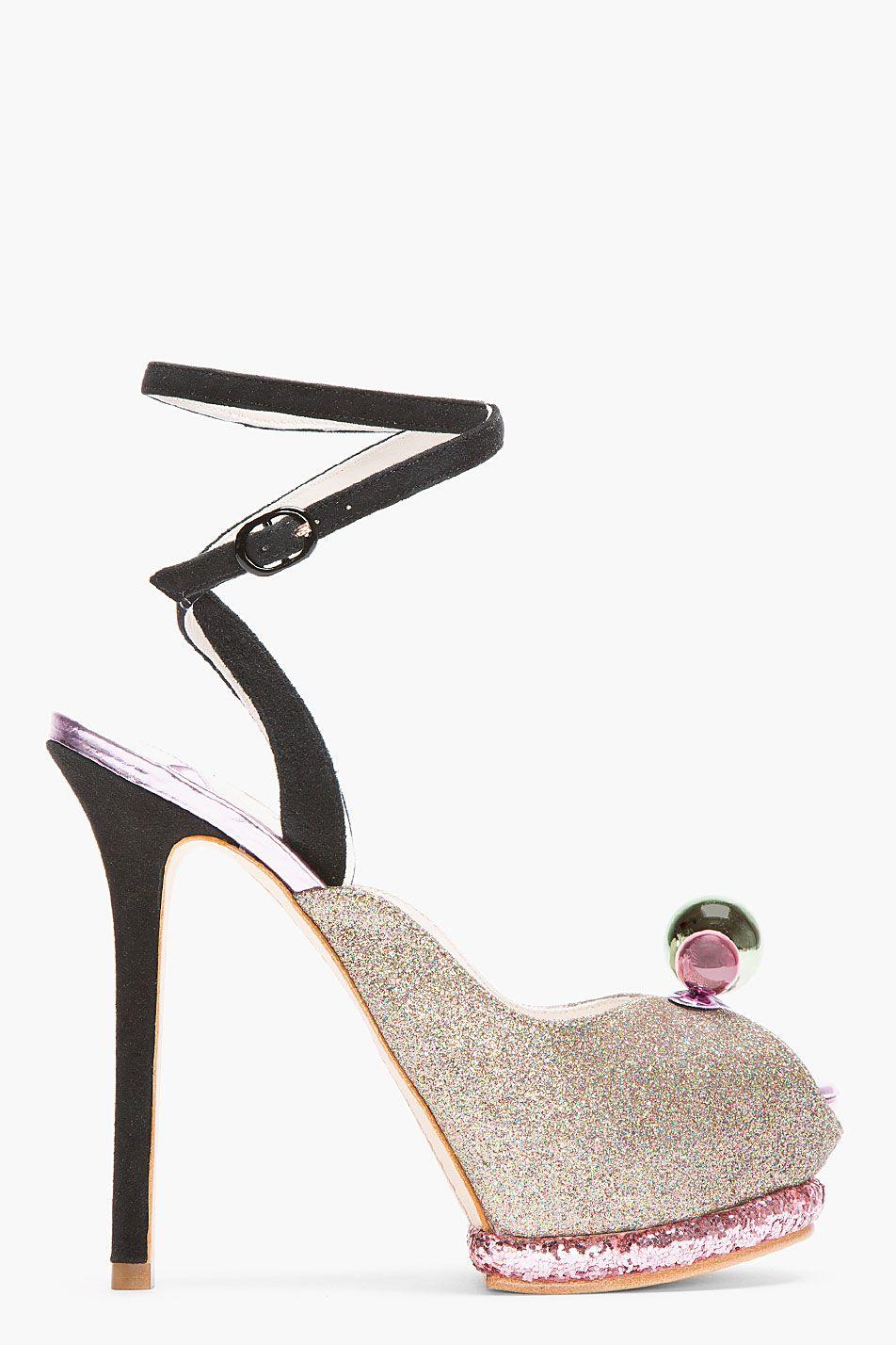 SOPHIA WEBSTER Mauve Glitter Bardot Ankle-Strap Heels · Zapatos BotinesZapatos  MujerTaconesSandaliasZapatillasLos ... 676152e2821