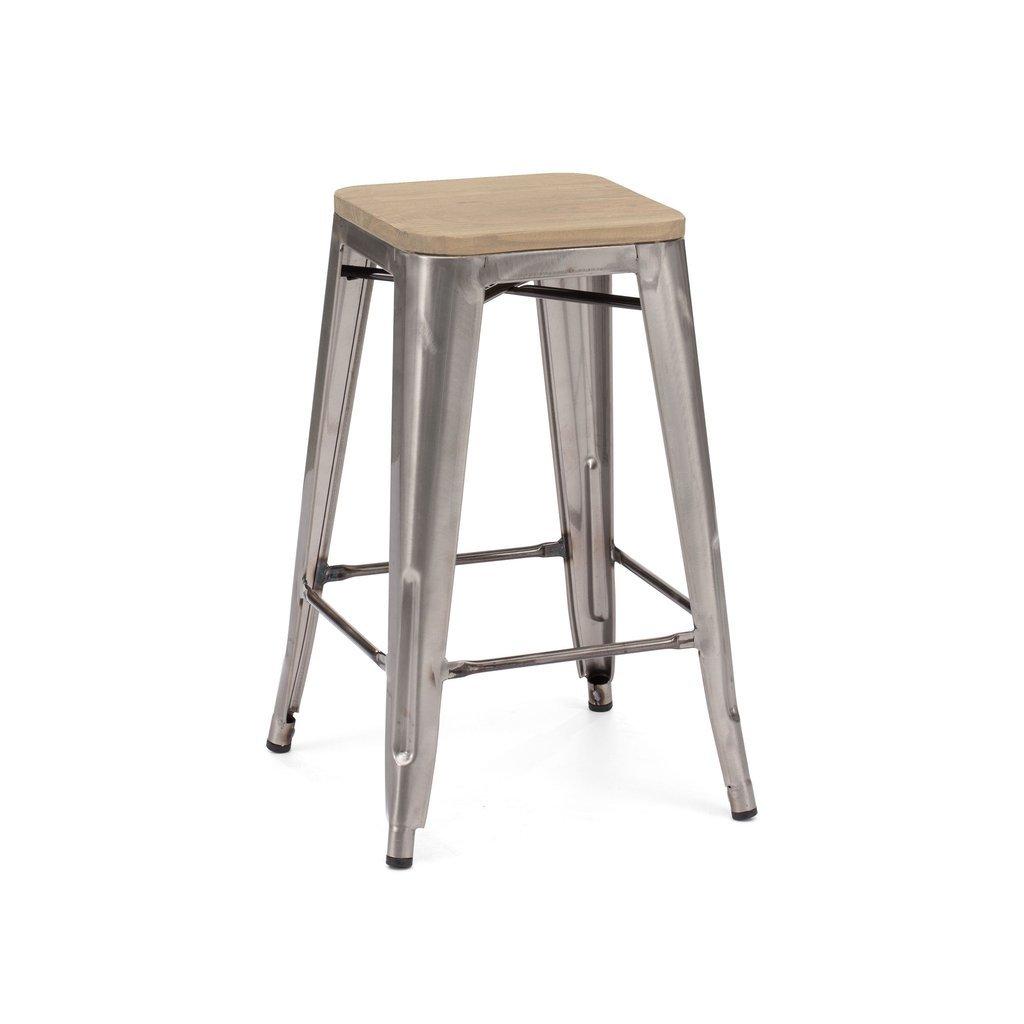 Dreux Gunmetal Light Elm Wood Stackable Counter Stool 26 Inch Set