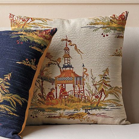 Waterside Gazebo Pillow Ivory from Gumps Tea Ceremony fabric