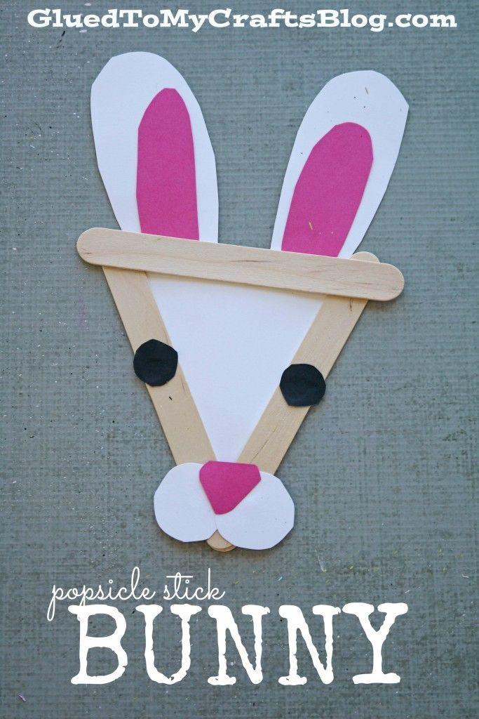 Popsicle Stick Bunny - Kid Craft   Abatelenguas, Animales de papel y ...