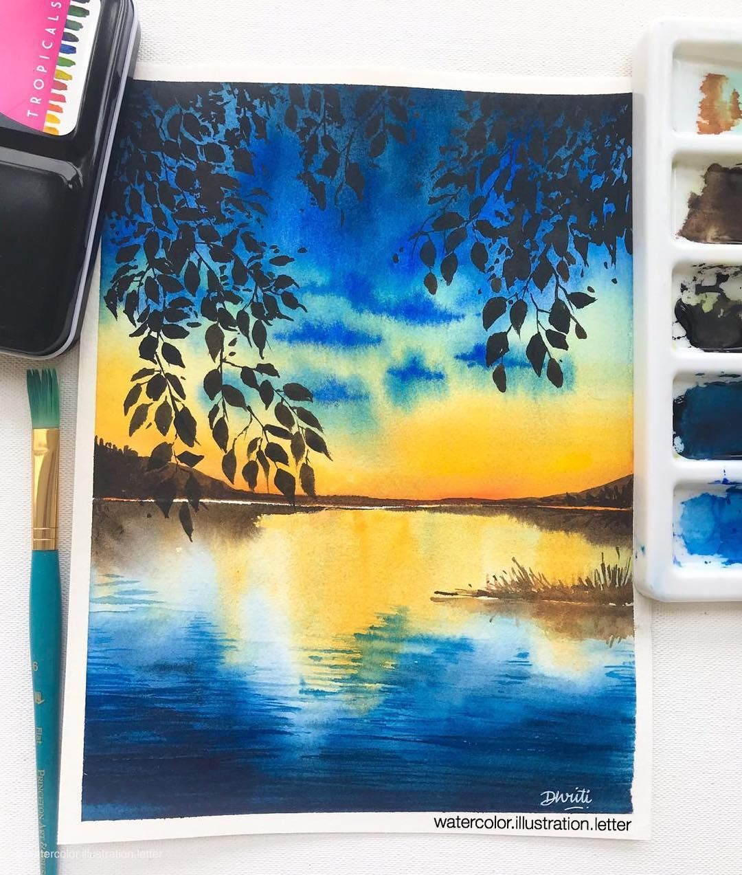 Watercolor Paintings Landscape In 2020 Watercolor Landscape Paintings Poster Color Painting Colorful Landscape Paintings