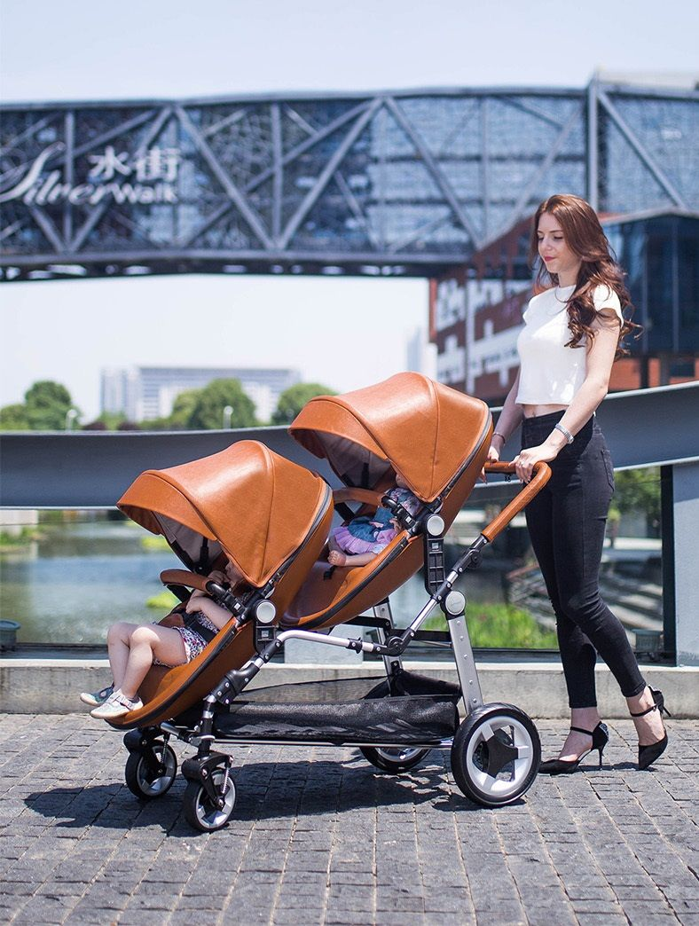Luxury Leather Double Twin Stroller With Convertible