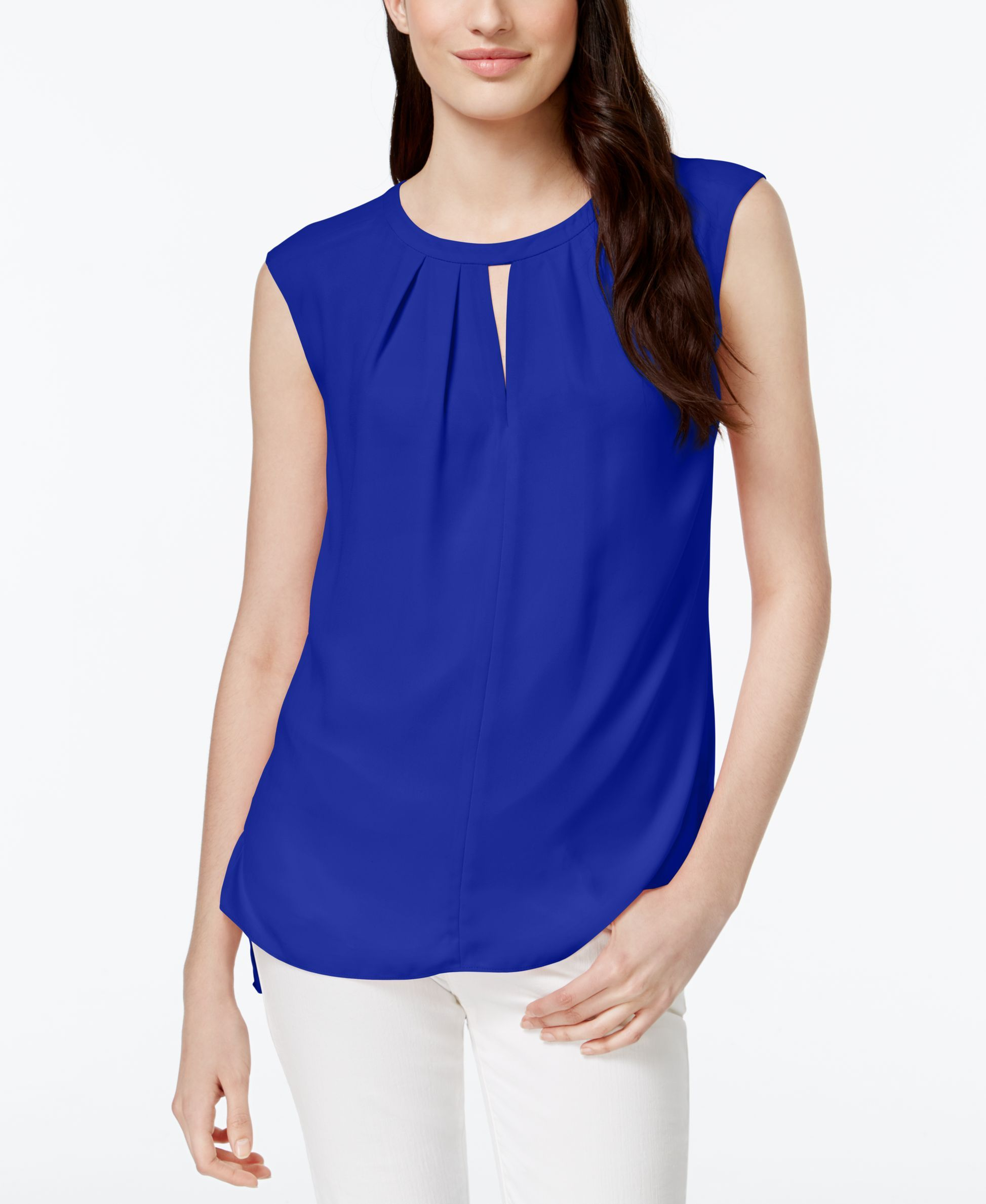 CeCe by Cynthia Steffe Pleated Sleeveless Keyhole Top