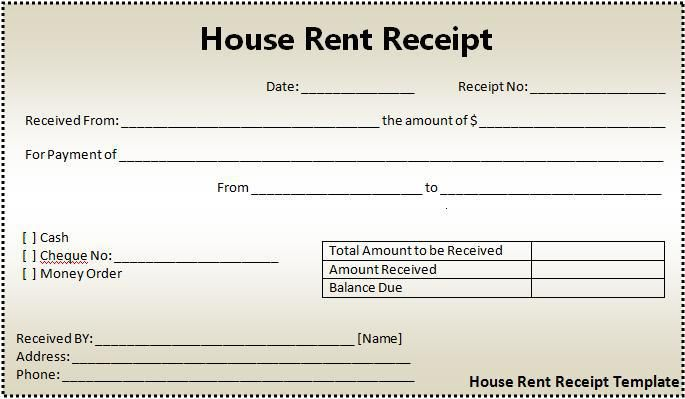 House Rent Receipt Form  Printableform    Receipt