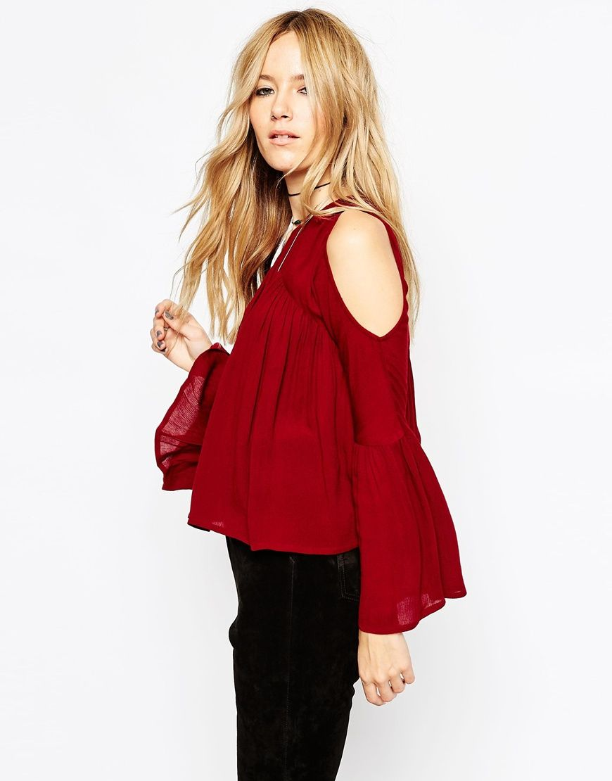 288993e59a7 Red BURGUNDY cut out shoulder bell sleeve top Amazing festival HIPPIE boho shirt  blouse top peasant off shoulder off the shoulder semi sheer material red ...