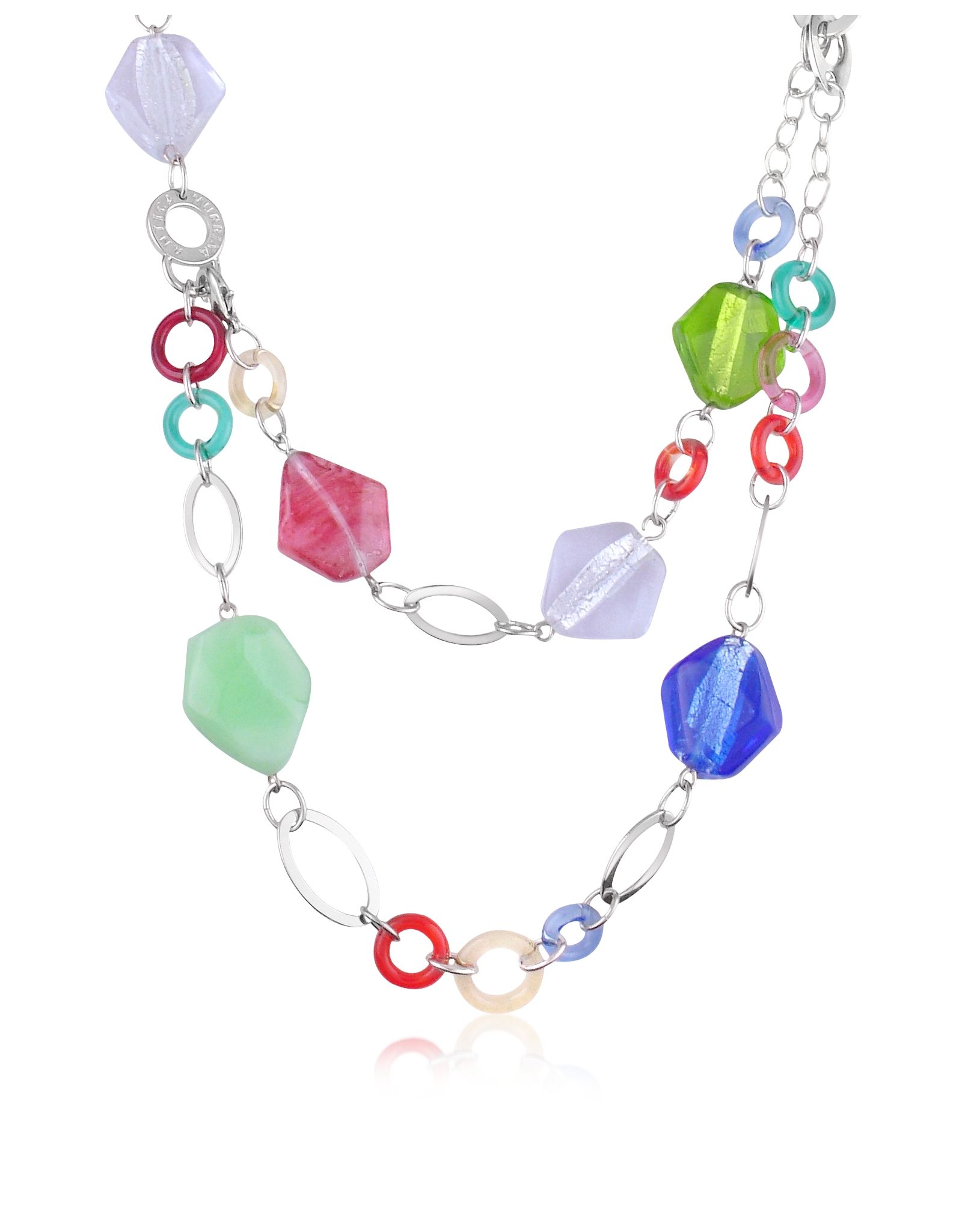 Murano Glass and Chain Necklace and Bracelet