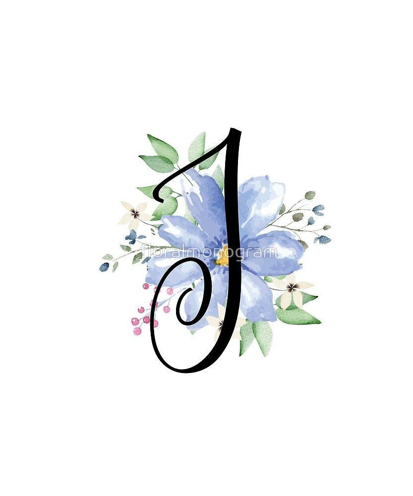Monogram J Beautiful Watercolor Blue Flower Sticker By Floralmonogram J Tattoo Floral Monogram Letter Stylish Alphabets