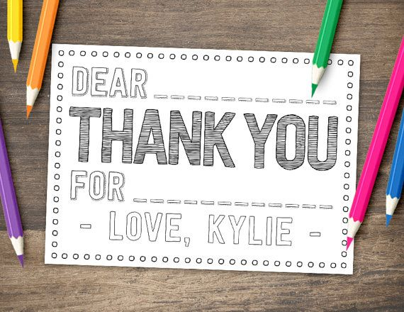 COLOR ME Kid Thank You Card - PRINTABLE Coloring Thank You Card ...